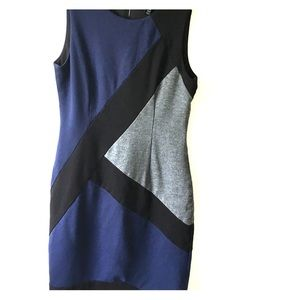 White House Black Market blue/gray/black dress